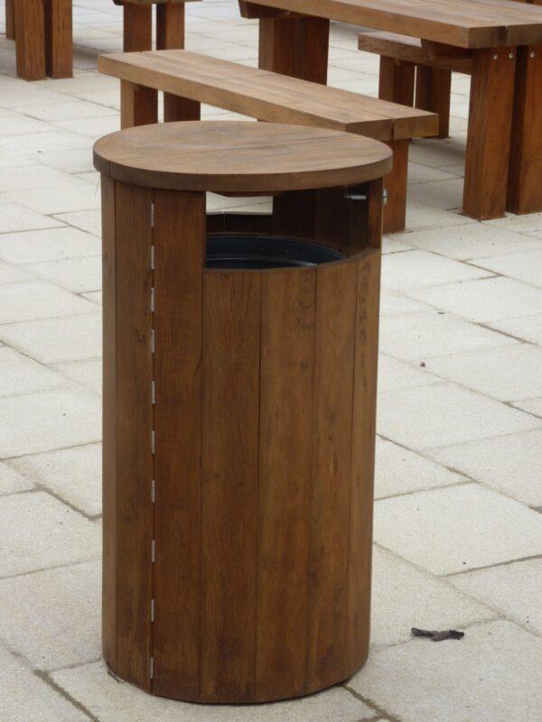 Round closed top timber litter bin