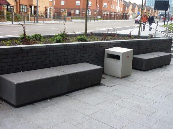 Cube square enclosed cast stone litter bin